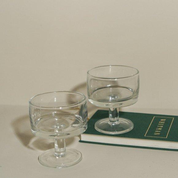 Sherbet Desert Glass Pair in Clear